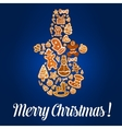 Snowman made up of Christmas gingerbread cookie vector image