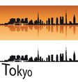 Tokyo skyline in orange background vector image