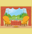 room with view of forest glade vector image