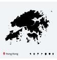 High detailed map of Hong Kong with navigation vector image