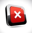 Abort 3d square button vector image