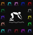 Summer sports diving icon sign Lots of colorful vector image