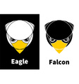 Eagle and Falcon Head Icons vector image