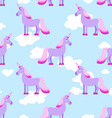 Purple Unicorn on blue sky with white clouds vector image