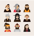 set with male subcultural characters rasta vector image