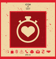 stopwatch with heart symbol - icon heart timer vector image