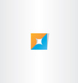 technology logo orange blue symbol vector image