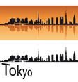 Tokyo skyline in orange background vector image