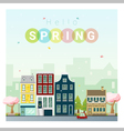 Hello spring cityscape background 1 vector image