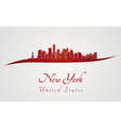 New York skyline in red vector image