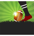 Football or rugby player with ball on grass vector image vector image