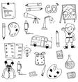 Many element school doodles funny vector image