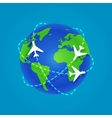 Three Airplanes flying around a globe vector image