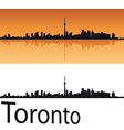 Toronto skyline in orange background vector image vector image