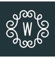 White Vintage Twirl Frame for W Letter vector image