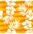 Orange bright flowers and painted stripes seamless vector image