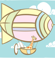 Giraffe Riding Balloon vector image vector image
