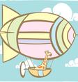 Giraffe Riding Balloon vector image