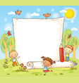 cartoon frame with three kids outdoors vector image
