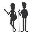 couple singing with microphone vector image