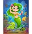 Cute cartoon mermaid vector image