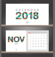 november 2018 calendar desk calendar modern vector image