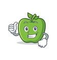 thumbs up green apple character cartoon vector image