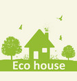 landscape with green tree and house vector image