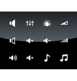 Speaker icons on black background Volume control vector image