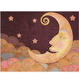 Retro style half moon clouds and stars vector image