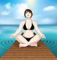 woman practicing yoga at sea vector image