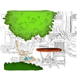 Cafe in the Garden Partially colored version vector image