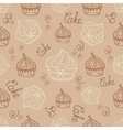 Hand drawn seamless with set of cakes vector image