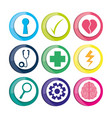 healthy icons to care mentality human vector image