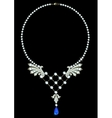 Necklace with sapphire vector image