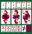 poker playing cards heart suit set vector image