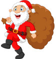 Santa walking and holding sack vector image