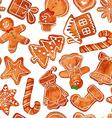 Seamless pattern of watercolor gingerbread cookies vector image