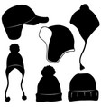 set of different winter hats vector image vector image