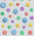 Social Networking Flat Outline Multicolor Pattern vector image vector image