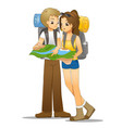 young couple looking at map vector image vector image