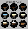 set of coffee menu icons patches vector image