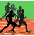 Silhouettes athletes running in the stadium vector image