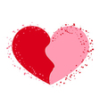 Halves heart icon pink on white vector image