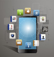 mobile device with a set of flat icons vector image