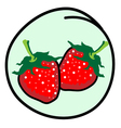 Two Red Strawberries on Round Green Background vector image