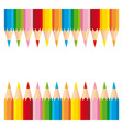 Two series of colorful pencils on white background vector image vector image