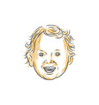 Caucasian Toddler Smiling Drawing vector image vector image