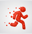 running man sign with red circles sport concept vector image