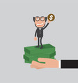 businessman raise hand up vector image